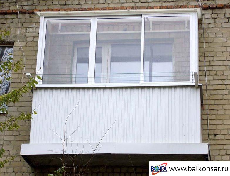 Алюминиевые балконы с внешней отделкой (хрущевки, брежневки).